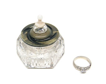 Salt Cellar Ring Box Swirl Gray Green Vintage Button Lid