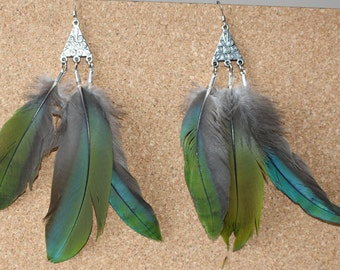 FEATHER Earrings -- Bird, Native American, Southwest - Style 43 - Military Macaw - Triple Feather