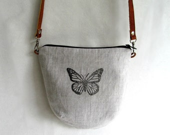 LINEN Cross Body Bag // LINEN Sling Bag //  Daybag // Small Summer Purse