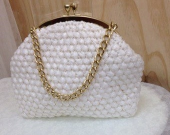 Vintage Ivory Raffia and gold quality Retro Handbag 1960's clean interior Antique, gold chain handle