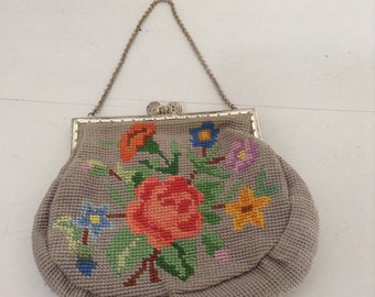 Vintage Roses homemade Tapestry Little Retro Handbag 1940's clean interior Antique gold chain handle and frame