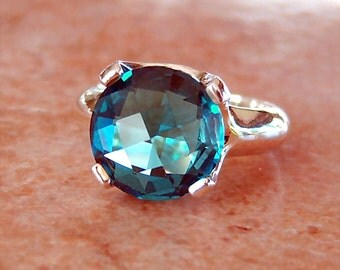 4.1ct Checkerboard London Blue Topaz, Argentium Sterling Silver Ring, Cavalier Creations