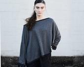 SALE 20% BABOOSHKA Vent Tee Oversized SweatShirt Sweater Boxy Wide Loose Fit Top Shirt Charcoal Gray Black Knit ( xs s m l xl xxl )