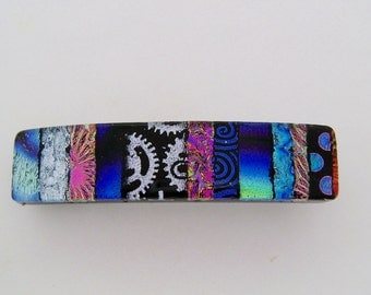 Small dichroic glass barrette.