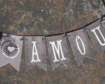 Vintage Inspired Valentine's Day AMOUR Banner Garland Victorian Paper Rosettes Chalkboard Grey Silver