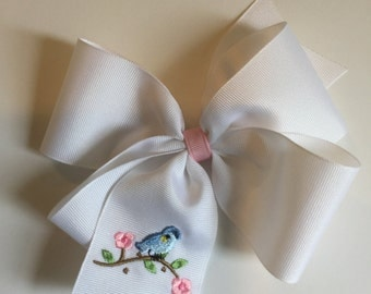 Embroidered Blue Bird Hair Bow Big Boutique Preppy