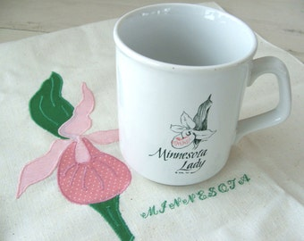 Minnesota Lady Slipper Souvenir Mug Made in England and Embroidered Linen