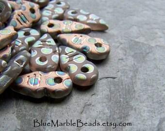 Czech Arrow Bead-Czech Glass-Czech Bead-Glass Arrow Bead-Organic Bead-Tribal Bead-Peacock-Matte Glass Beads-12 Beads