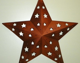 "18"" Metal Star with Star Cutouts"
