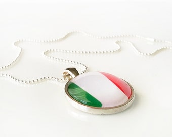 """Flag Necklace - ITALY - glass dome necklace, bezel set pendant, flag image, red white and green necklace - 18"""" silvertone ball chain"""