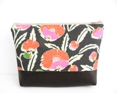Floral Makeup bag, Cosmetic pouch, Zipper Top, Vegan Leather Bag, Plastic Lining, Faux Leather bottom bag, Personal organizer, Floral Clutch