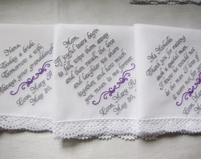 Three Custom Embroidered Wedding Handkerchiefs for Mother of the Bride, Mother of the Groom and Grandmother