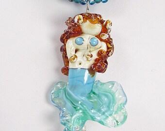Handmade Beaded Kumihimo Necklace with Lampwork Mermaid Pendant and Earrings   Aqua and Teal