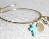 Gold and Turquoise Stamped Hope Charm Slide Bangle Bracelet