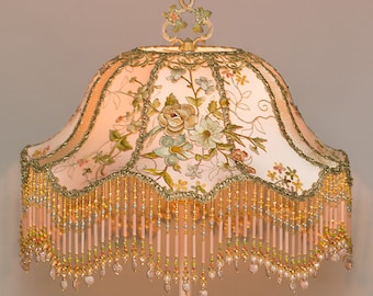 HOLD Do Not Purchase - Pale Pink Floral Bella Château  Romantic Shabby Victorian Lampshade Beaded with Antique Textiles OOAK
