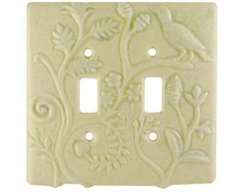 Persian Ceramic Light Switch Cover - double toggle in cream moss glaze