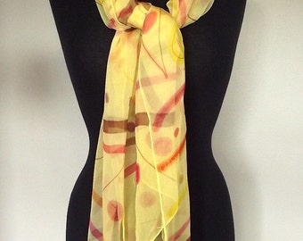 "Hand Painted Silk Chiffon Scarf 22x72"", Yellow Chiffon with Cherry, Orange, Brown and Yellow Design"