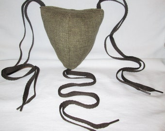 Renaissance Padded Rustic Green Codpiece with Ties
