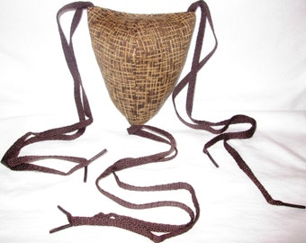 Renaissance Padded Brown Straw Textured Codpiece with Ties