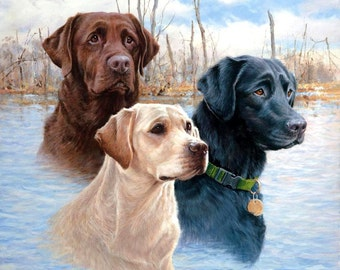 "LABRADOR RETRIEVER Dog Heads (Three colors) on ONE 16 inch size fabric panel. Actual picture is 9"" x 9"" on white background."