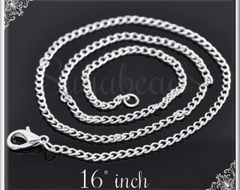Bulk Buy 12 Silver Plated Curb Chains - Finished Necklaces 16 inch SPCC3