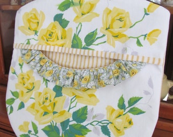 Clothes Pin Peg Bag - Yellow Roses - Repurposed Vintage Wilendur Tablecloth & Wood Hanger - Cottage Shabby