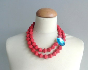 Coral Red turquoise statement necklace, multi strand necklace, chunky necklace