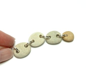 TAG A LONG Beautiful Rock Pendant Beach Stone Pebbles Riverstone Ready to Use Dainty Necklace Jewelry Bead Connected Rocks
