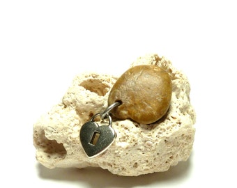 Heart of Stone A GENTLE HEART Jewelry Pendant Beach Pebble River Rock Silver Heart Charm Necklace Dangle