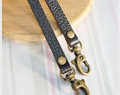 1 pairs of Dark Brown Embossed Leather Strap Handle Clasp Ended( Mobile Phone / Camera case ) Bag Supply