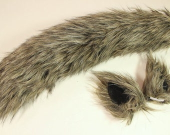 Brown  Wolf Costume - Wolf Ears and Wolf Tail - Husky Tail-Anime, Fantasy, Cosplay. Burning Man