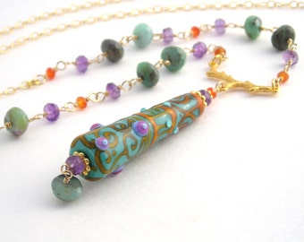 Boho Long Gold Chain Necklace With Lampwork Pendant,Mint Green, Orange, Purple, Gemstone Necklace