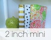 "2 inch oilcloth mini binder // 2"" half sheet planner dayplanner recipe organizer A5 three ring calendar // chevron stripe floral dot"