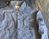 Vintage 1940's US Navy Chambray Denim Military Issue Deck Shirt WWII