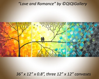 "Sale Colourful art 36"" love birds art canvas art wall decor gift for couple anniversary gift  wedding gift ""Love and Romance"" by qiqigallery"