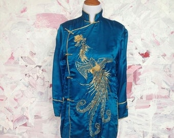 Chinese Silk Tunic with large gold Phoenix Bird