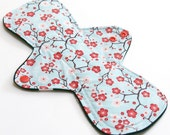 """11"""" HEAVY flow Reusable cloth menstrual pad-bamboo core - Windpro - quilter's cotton top in Apple Blossom"""