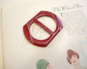 Vintage Large 1940's Red Plastic Belt Buckle