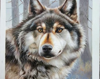 Winter, Wolf - high quality 100% hand-painted oil original painting (30 x 20 in.)