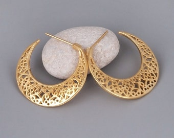Moroccan Jewelry, Gold Filigree Hoop Earrings, Gypsy Hoop Earrings, Tribal Earrings, Large Hoop Earrings, Rose Gold, Sterling Silver, Lace