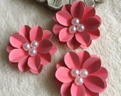 Scrapbook Paper Flowers...3 Piece Set of Very Pretty Coral Pink Chelsea Scrapbook Paper Flowers