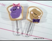 Planner Clip Set Peanut Butter Jelly Polymer Clay Page Marker Journal Accessory