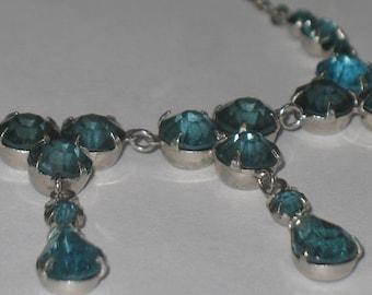 Classy Aquamarine Crystal Necklace