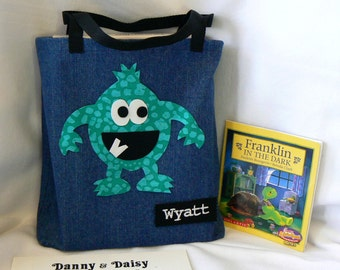 Kids Monster Tote Bag|Children's Book Bag|Christmas Gift Bag|Personalized Tote Bag|Toddlers Bag|Preschool Tote Bag|School Bag|Kids Book Bag