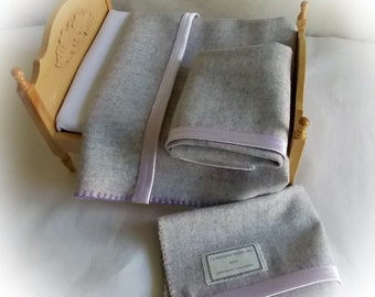 Miniature Dollhouse Bedding 1:12 or 1 inch scale...Miniature Wool Flannel Blanket with Satin Edges...Double Bed Size in Lavender Heather Mix