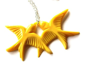 Mustard yellow flying kissing resin lovebird pendant silver necklace