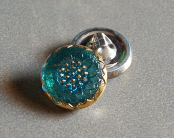 Dark Aqua and Gold Daisy 18mm Glass Round Button with Metal Shank (1) 227