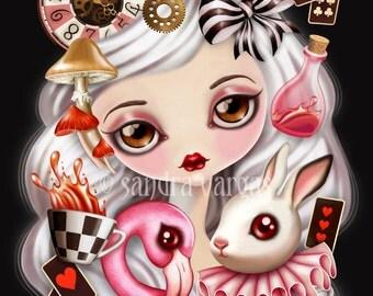 Through Her Eyes, 8 x 10 Art Print Digital Illustration, Alice in Wonderland