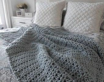 Chunky wool throw blanket ~ wool knit ~ Gray
