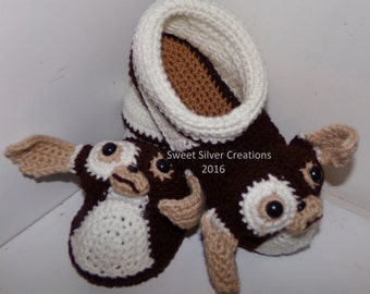 Gizmo Slippers - will fit adult shoe size 6-1/2 to 11 CROCHET PATTERN ONLY